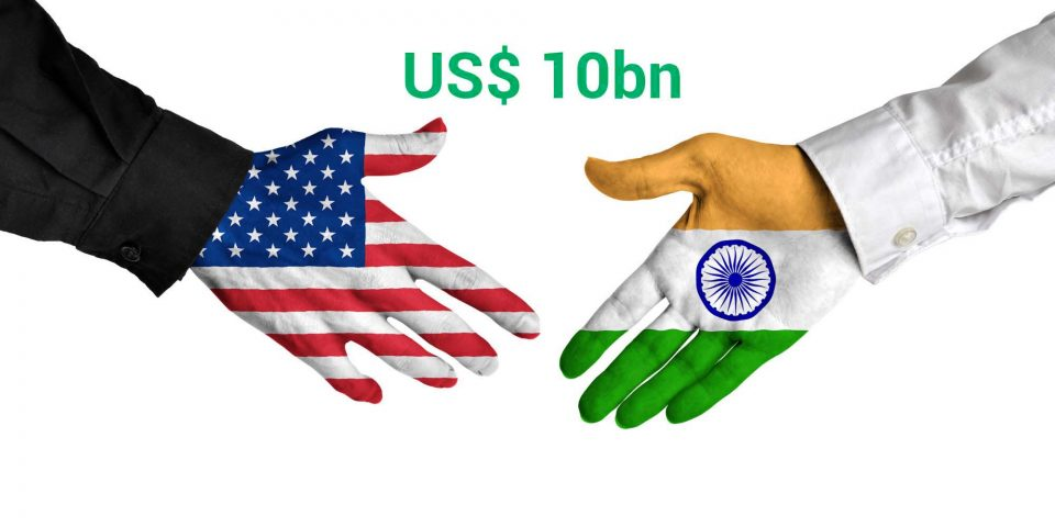 United States and India leaders shaking hands on a deal